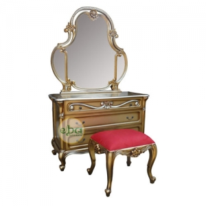 blind gold vanity with stool