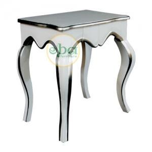 white silver side table