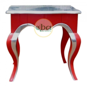 red silver side table