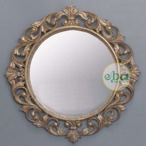 livy round carved mirror